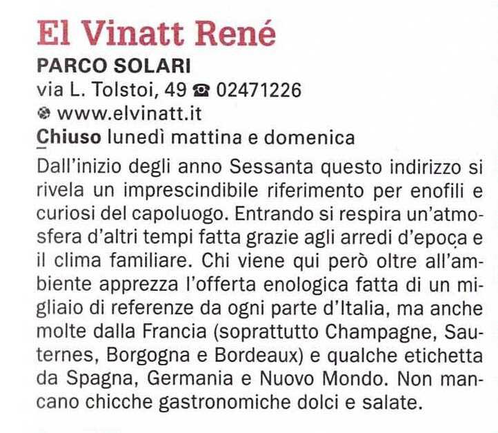 """Inserimento dell'Enoteca El Vinatt nella guida del Gambero Rosso 2018 """"Milano e il meglio della Lombardia"""""""